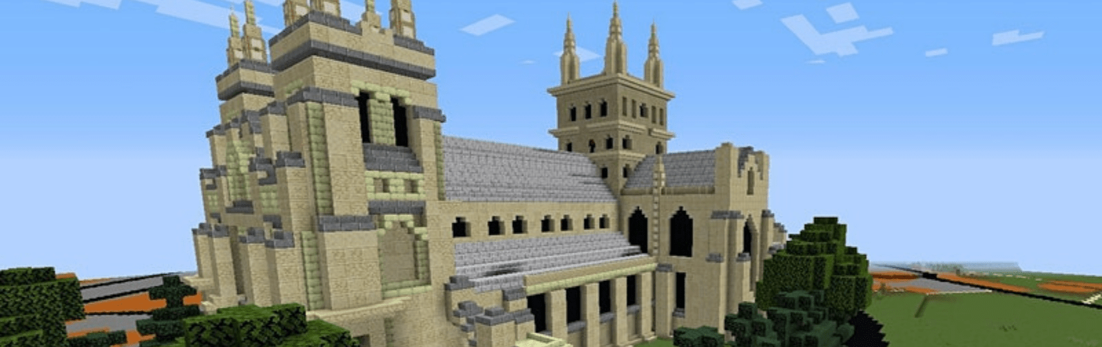 Selby Abbey in Minecraft. View from the South West,